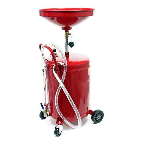 Ölauffanggerät für 80l, höhenverstellbar 122-183 cm mit 4-Rad-Fahrwerk, Entleerung mittels Luftdruck