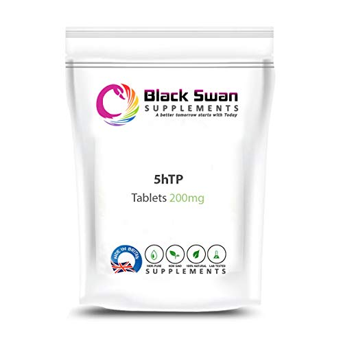 Black Swan 5HTP 200mg Tablet - Griffonia Seed Extract Supplement - Support General Wellbeing, Good Mood, Regulate Sleep and Weight Loss – Natural Supplement (60 Tabs)
