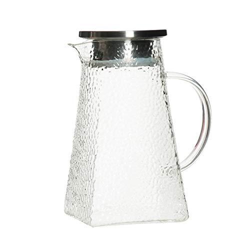 Jarra de Agua Jarra de Vidrio para el hogar con Tapa de Vidrio de Patrones de Martillo Irregular de caño y Tapa para la Leche de Jugo de Fruta (1200ml / 1500ml / 1800ml) Tetera para té Helado