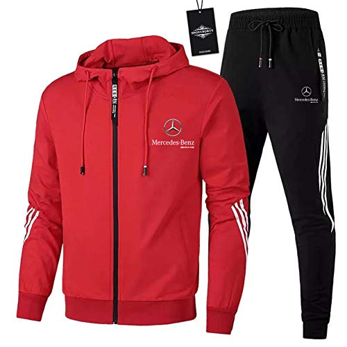 Finchwac Herren Jogging Anzug Trainingsanzug Sportanzug Merce.Des-Ben.Z Streifen Kapuzen Jacke + Hose X/Rot/XL sponyborty