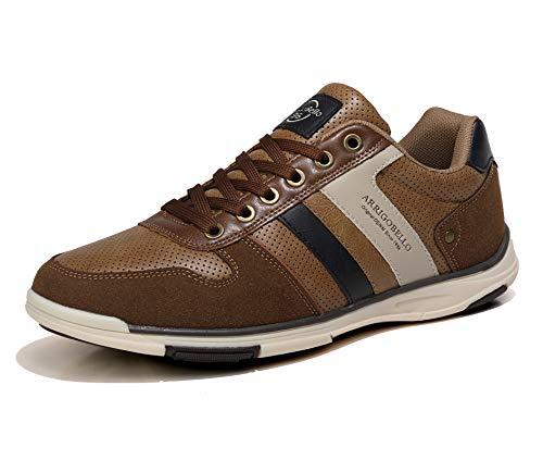 AX BOXING Zapatillas Hombres Aire Libre Deportivo Sneakers Cómodo Elegante Casual Zapatos Tamaño 41-46 (Marrón, Numeric_46)