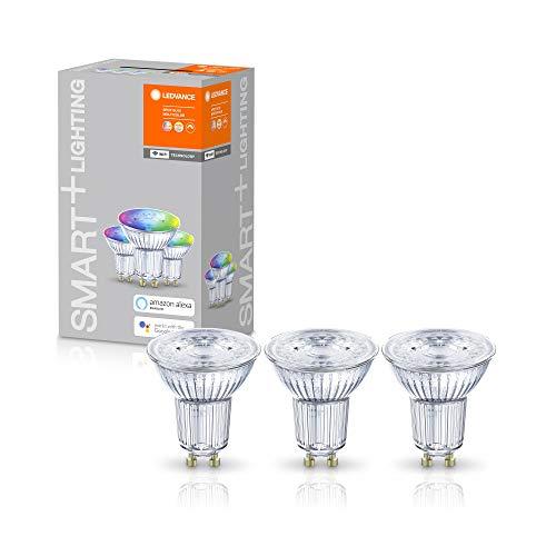 LEDVANCE Smarte LED-Reflektorlampe mit WiFi Technologie, Sockel GU10, Lichtfarbe änderbar (2700-6500K), RGB Farben änderbar, Dimmbar, ersetzt Reflektorlampen mit 50 W, SMART+ WiFi SPOT RGBW, 3er-Pack