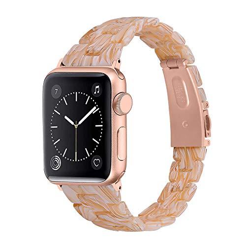 CHENPENG Correa de Resina Compatible con Apple Watch Series 1/2/3/4/5/6, Moda Delgada súper cómoda Pulsera de Pulsera con Correa de Repuesto de Resina para Hombres y Mujeres,D,42MM