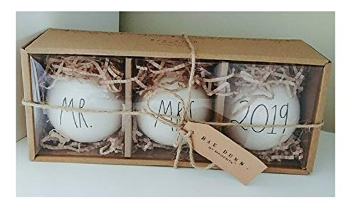 Rae Dunn Artisan Collection by Magenta Mr and Mrs 2019 Christmas Holiday Ornaments LL - Set of 3