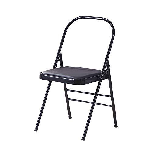 Junxia lyengar Yoga Chair - Backless Flexibility and Strength Training Tool,Pilates,Hardened and Thick Yoga Folding Chair, Solid Anti-Slip, Stable and Durable (Black)