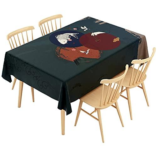 Patrón Retro Impresión Hogar Sala De Estar Decoración Cocina Impermeable Mantel Rectangular Mantel Lavable Mantel Cuadrado Fiesta Cena De Vacaciones Restaurante 140x200cm