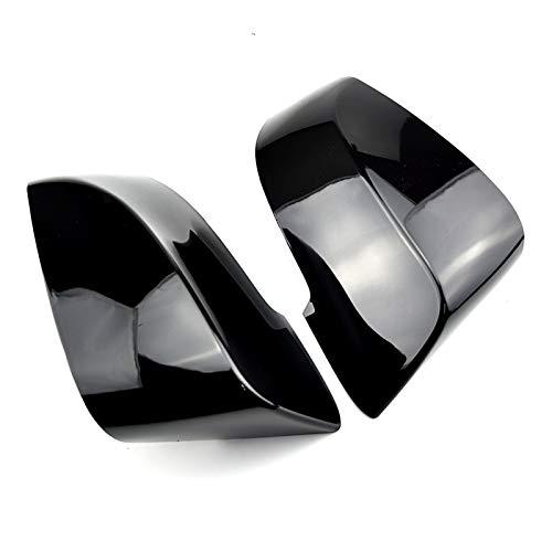 YYAN 2 unids de reemplazo Shell Lateral Lateral de Fibra de Carbono patrón de Espejo Tapas de Cubierta Ajuste para BMW F10 F11 F18 F07 F06 F12 F13 F01 F02 2013-17 (Color : Bright Black)