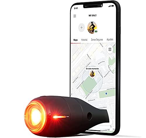 Vodafone Luz Trasera de Bicicleta Inteligente, Curve Bike LightGPS Tracker - Luz de Freno con Localizador GPS, Detección de Impactos, y Alarma de Seguridad Incluye Suscripción 6 Meses, Negro