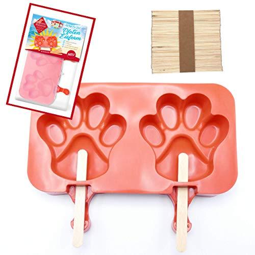 ChronoBalance Eisform für Hundeeis aus Silikon, BPA frei, mit 50 GRATIS Holz-Eisstielen, 2 Pfotenformen, leichte Anwendung (2 Pfoten-Eisform, Rot)