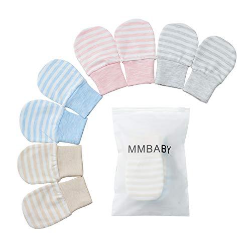 4 Paare Neugeborenen Handschuhe,Babyhandschuhe aus Baumwolle als Neugeborenen Handschuhe, No Scratch Fäustlinge Handschuhe Babyhandschuhe Keine (0-6 Monate, 4 Packstreifen)