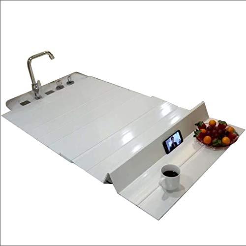 LwBathtub tray Badewannenabdeckung Anti-Staub Falten Staubplatte Badewanne Isolierabdeckung PVC weiß 66 * 75cm