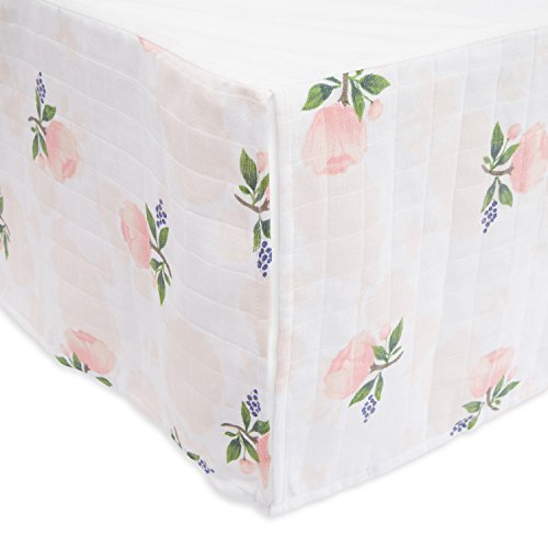 """Little Unicorn Cotton Muslin Crib Skirt – 52"""" x 28"""" x 12"""" – 100% Cotton – Machine Washable – Lightweight – Playful Design – 4-Sided Double Layered Panels - for Boys & Girls (Watercolor Rose)"""