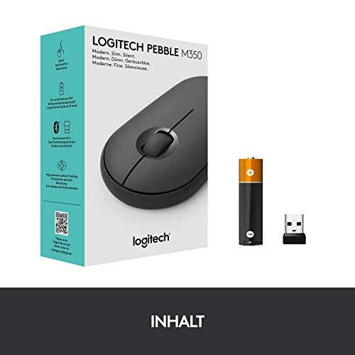 Logitech M350 Pebble Kabellose Maus, Bluetooth und 2.4 GHz Verbindung via Nano USB-Empfänger, 18-Monate Akkulaufzeit, 3 Tasten, Leises Klicken und Scrollen, PC/Mac/iPadOS – Grafit/Schwarz - 8