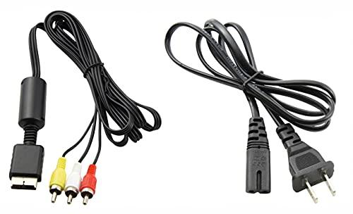Fuente de alimentación de CA + cable adaptador de audio y vídeo RCA AV a monitor de pantalla de TV externo para Sony Playstation 1, 2, 3, PS1, PS2, PS3, PSX original FAT Gaming...