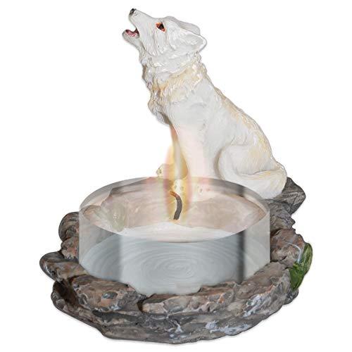 mtb more energy Deko Teelichthalter ''White Wolve'' -Wolf Kerzenhalter - Variante 2 - Höhe 8 cm - Fantasy Figur Dekoration