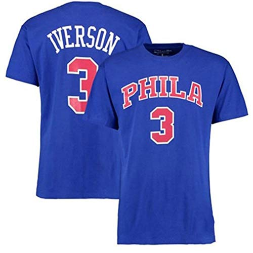Zxwzzz Iverson IversonNo.3 Respuesta Retro 76ers De Manga Corta De La Camiseta De La NBA De Baloncesto De Manga Corta Deportes Hombres (Color : Blue, Size : XX-Large)