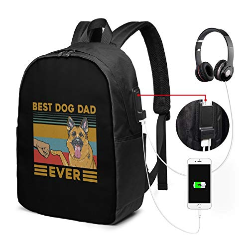 Best Dog Dad Ever USB Backpack Carry On Bags 17 Inches Laptop Backpack for Travel School Business