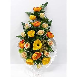 Ramo para Cementerio de Flores Artificiales de Tela para Todos los Santos Medida 60cm. Naranja (124731)