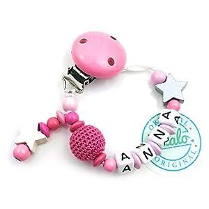 Baby Schnullerkette mit Namen, Häkelperle, 2 Sterne, Pink, Handmade Namenskette/Schnullerhalter zur Geburt, Geburtstag…