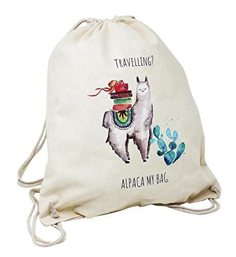Close Up Travelling? Alpaca My Bag - Hipster Tasche Turnbeutel Sportbeutel Rucksack | Beutel für Damen & Herren, Natur - 100% Baumwolle