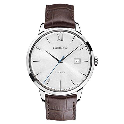 Montblanc Watches Reloj Analógico para Hombre de Automático con Correa en Cuero 111580