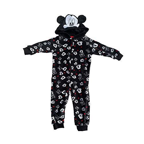 Disney Mickey Mouse Jungen Schlafanzug Schlafoverall Onesie mit Kapuze Schwarz 2-3 Jahre
