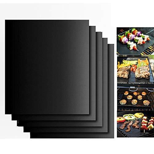 RG-FA Lot de 10 tapis de cuisson 100 % anti-adhésifs en téflon, parfaits pour la cuisson au charbon de bois, au four et au grill électrique, réutilisables et faciles à nettoyer, 40 x 33 x 0,2 mm