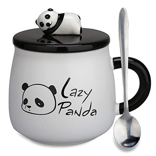 Panda Mug Gifts - Doublewhale Best Friend Gifts Mugs Tea Cups with Lids/Spoon for Teen Girls/Girlfriends/Women/Mum(Lazy Panda)
