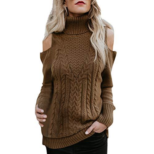 Dames rolkraagpullover schoudervrij lange mouwen gebreide trui bovendeel casual gebreide trui blouse lange mouwen losse warme gebreide trui top gebreide trui elegant