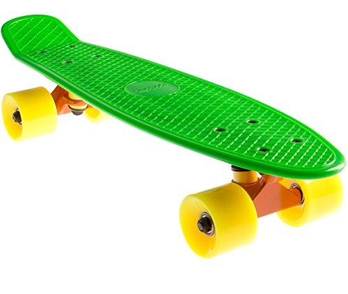 SportPlus EZY! Mini-Cruiser Retro Skateboard con Cuscinetti a Sfera ABEC 5, Lunghezza 56 cm, Trucks in Alluminio da 3,25 Pollici, Deck in Polipropene - Sicurezza Testata Secondo EN 13613 - Vari Colori e Design