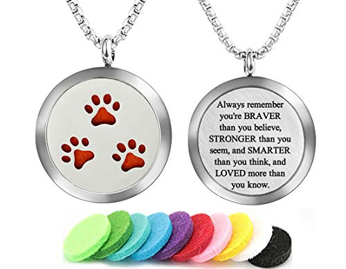 Aromatherapy Essential Oil Diffuser Necklace Dog Paw Pattern Stainless Steel Locket Pendant