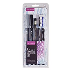 Dual Brush Pens with flexible brush tip for big, bold letters and fine tip for details Calligraphy pen with petite brush tip Twin tip black permanent marker – bullet tip and fine point Smudge-proof pencil for sketching lines Premium eraser removes gu...