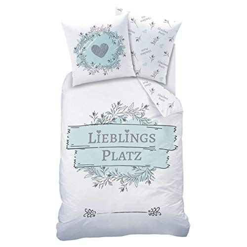 Matt&Rose LIEBLINGSPLATZ Bettwäsche 135x200 Baumwolle · Bettwäsche-Set · Teenager & Erwachsene, Blumen, Herz & Spruch - Kissenbezug 80x80 + Bettbezug 135x200 cm - 100% Baumwolle