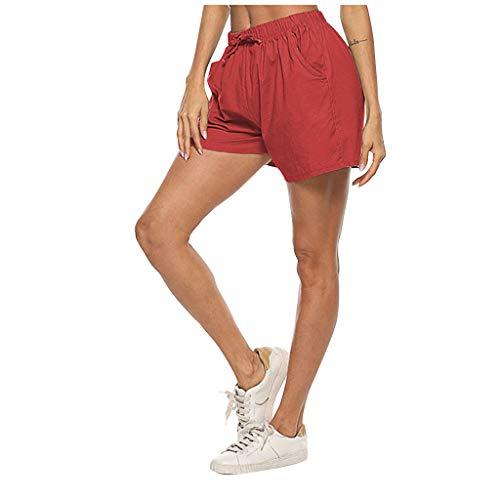 VEFSU Boxing Shorts Women's Daily Life Shorts Chino Shorts Cotton Drawstring Pants Linen Wide Leg Hot Shorts(b Red,3XL)
