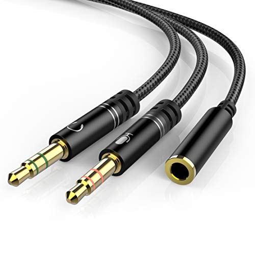 Headphone Splitter Mic Cable for Computer, KOOPAO 3.5mm Female to2 Male...