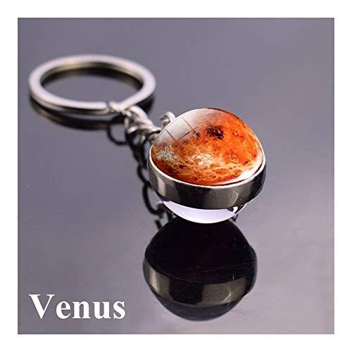 AOSUAI Schlüsselanhänger Mond Erde Nebelfleck-Raum-Galaxie Schlüsselanhänger Sonnensystem Planet Schlüsselanhänger Sun Mars Double Side-Glasball Schlüsselanhänger Deko (Color : Venus Keyring)