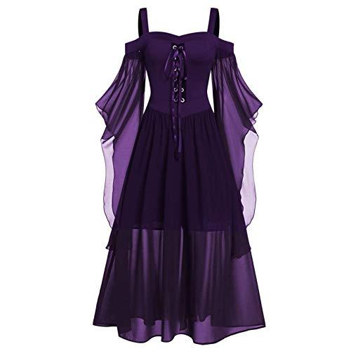 Damen Halloween Gothic Schulterfrei Kostüm Plus Size Langarm Tops Bluse Schnür...