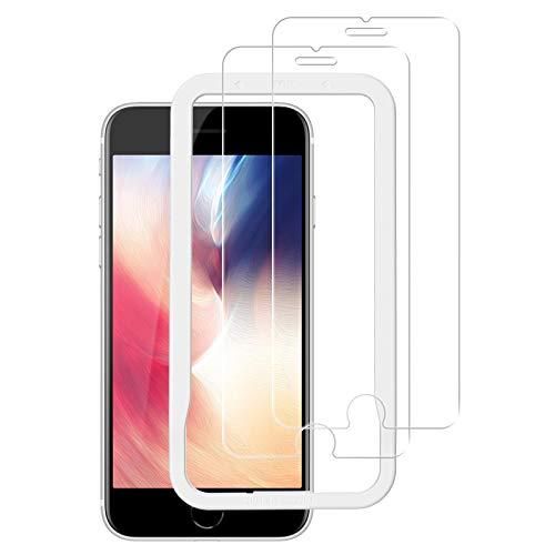 NIMASO ガラスフィルム iPhone SE 第2世代 用 iPhone8 7 6 6s 用 液晶 保護 フィルム ガイド枠 2枚セット