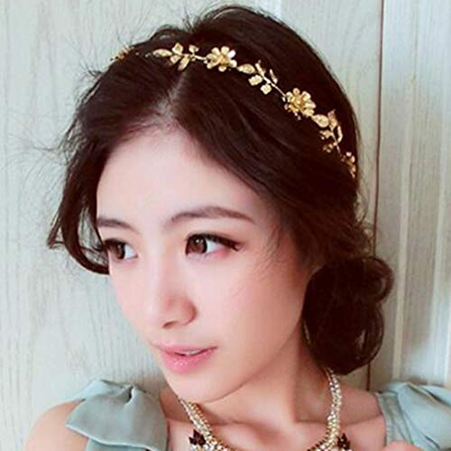 Tgirls Dainty Elastic Head Chain Gold Leaf Hairbands Flower Head Chain for Women and Girls