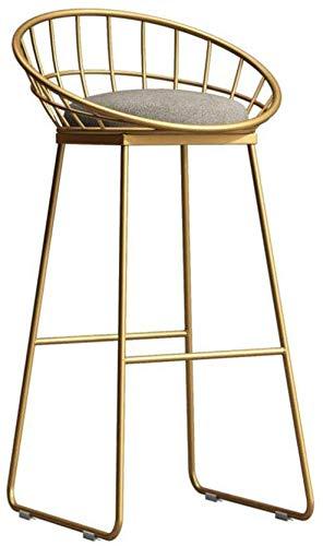 WLJBD JIA HE SENG Furniture Simple Silla Silla de la Barra de Hierro Forjado Barra de Oro Taburete Alto Moderno Silla de Comedor Silla Wire Ocio nórdica Silla de la Barra (Color: Oro, tamaño: 95 cm)