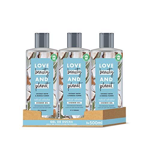 Love Beauty and Planet Gel de Ducha refrescante, Agua de Coco y Flor de Mimosa Vegano - Pack de 3 x 500 ml (Total: 1500 ml)