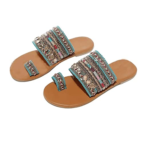 Bomoya Sandalias planas de punta abierta estilo boho dedo del pie anillo sandalias para las mujeres verano playa Flip Flop con tela de tela