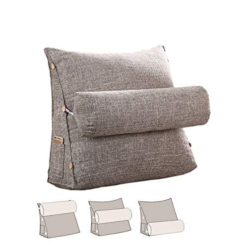 Naturer Rückenkissen mit Nackenrolle Grau Rückenlehne Keilform Bett-Rückenstütze Nackenkissen für Bett Sofa Auto Lesen Büro-Stuhl