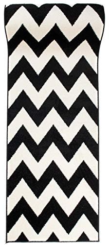 WE LOVE RUGS CARPETO Tapis de Passage Couloir sur Mesure - Tapis à Motif en Zigzag - Design Moderne - Parfait pour La Chambre - Plusieurs Coloris & Tailles - Blanc Noir - 70 x 500 cm