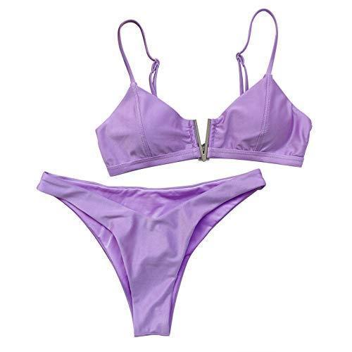 VESNIBA Bikini de dos piezas para mujer, bikini de cintura alta, estilo retro, con cintura alta, push up, acolchado morado S