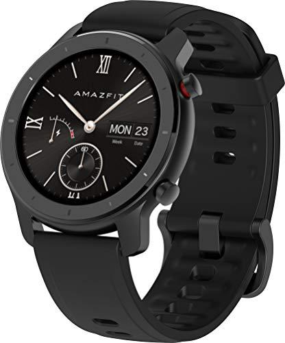 Amazfit GTR 42mm - Smartwatch (con medición óptica de la frecuencia cardíaca, Pantalla AMOLED, 5 ATM, Resistente al Agua y Correa de Silicona) Negro