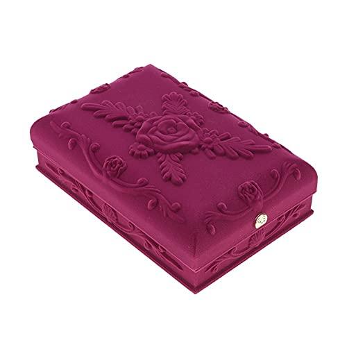 QAZX Caja de Joyas Pendientes De Anillos De Joyería En Relieve De Terciopelo Pendientes Pulseras Pantalla Presente Caja