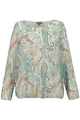 GINA LAURA Damen Bluse, Chiffon, Jerseyfutter, elastische Bündchen türkisblau XXL 748293 77-XXL