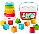 Fisher-Price Mes Premiers Blocs et Pyramide Arc-en-Ciel, jouets bébés en matériau d'origine végétale pour trier et empiler, 6mois et plus, GRF11