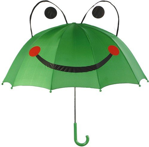 alles-meine.de GmbH 3-D Effekt - Frosch Schirm - Kinderschirm - für Kinder Stockschirm / Regenschirm Quack Frösche - Kinderregenschirm